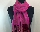 Handwoven Scarf with Beads and Color Accents