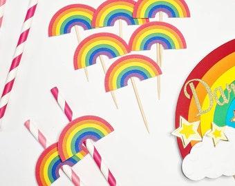 Rainbow Cupcake Toppers   Rainbow Cupcakes   Rainbow Toppers   Rainbow Party Decorations   Rainbows   Rainbow Party   Party Decorations