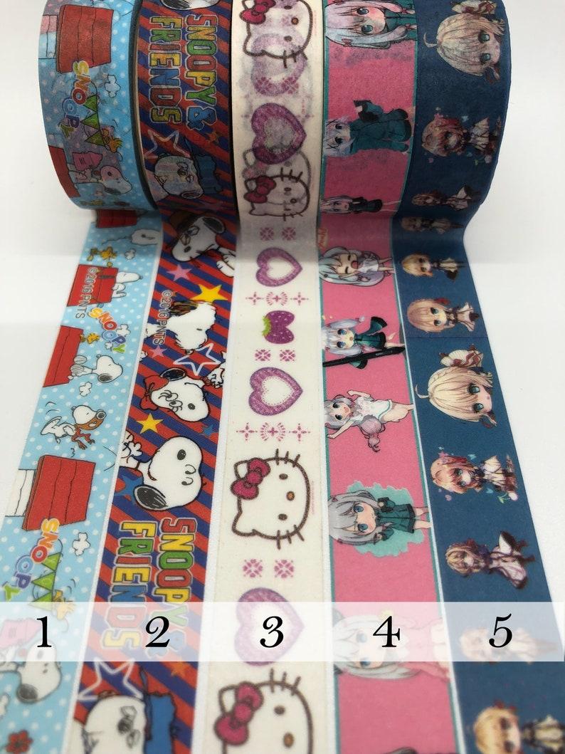 Kawaii anime Washi Tape Sample Charlie Brown Snoopy Hello Kitty