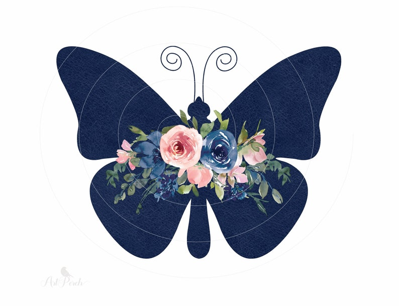 Instant Download Pink Blue Floral Butterfly Sublimation PNG Design Navy Texture