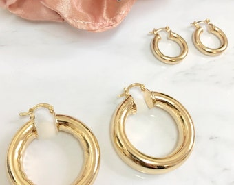 18K Yellow Gold Filled Oval Hoop Earrings Big Round Earrings Party Jewelry