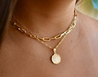 Gold Link Choker With Gold Coin Chain Set | Link Chain Necklace Set | Layered Link Chain | Chain Necklace | Paperclip Chain Necklace