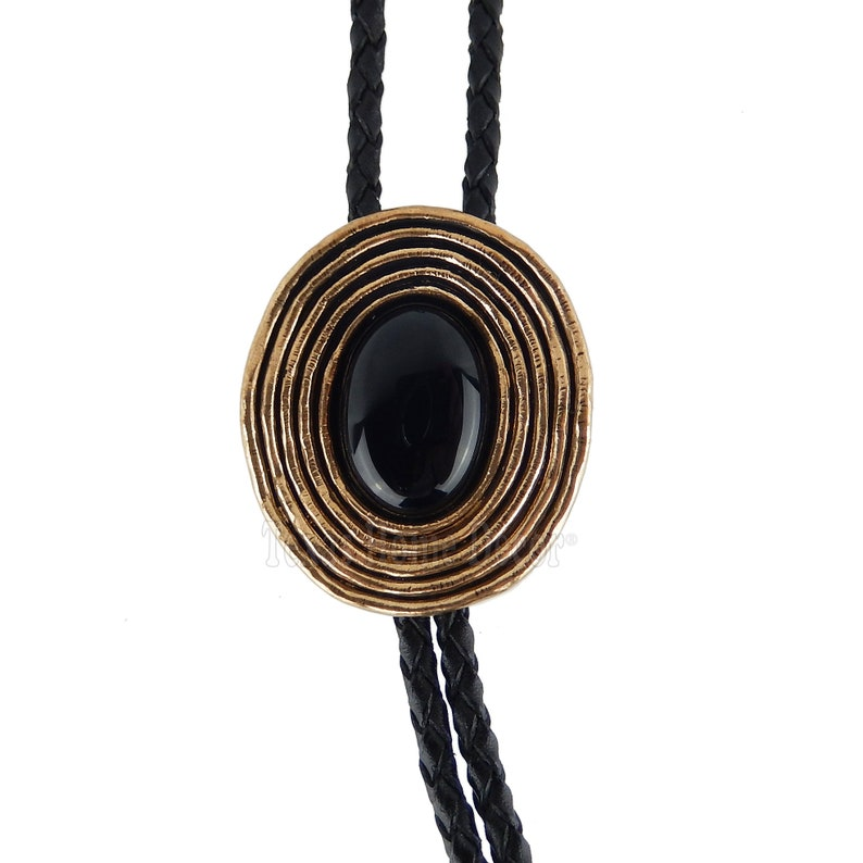 Black Obsidian Bolo Tie Real Gold Plated 38 Adjustable Leather Cord