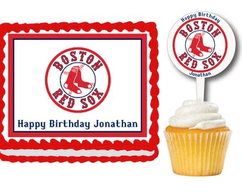 Boston Red Sox Edible Birthday Cake Or Cupcake Toppers Plastic Picks