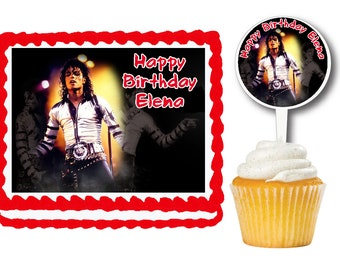Michael Jackson Edible Birthday Cake Or Cupcake Toppers Plastic Picks