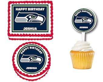 Seattle Seahawks Edible Birthday Cake Or Cupcake Toppers Plastic Picks