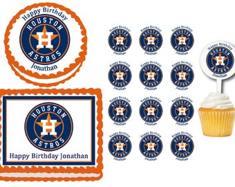 Houston Astros Edible Birthday Cake Or Cupcake Toppers Plastic Picks