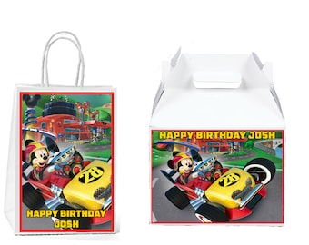 df561e85793 Mickey and the Roadster Racers Birthday Gift Favor Bag Labels Gable Box  Labels