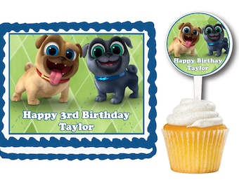 Puppy Dog Pals Edible Birthday Cake Or Cupcake Toppers Plastic Picks