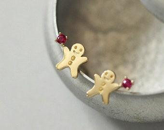 SOLID GOLD Cute little Gingerbread Man Stud Earrings, 9K Real Solid Gold Sweet Gingerbread Man Stud Earrings, Delicate Solid Gold Earrings