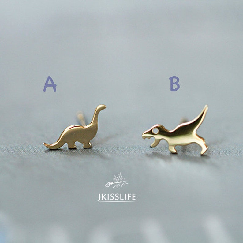 6df7cca92ec02 9K Solid Gold Dainty Mismatched Stud Earrings, Tiny Gold Minimalist  Dinosaur/Whale/Crocodile Earring, Solid Gold Mix and Match Earrings