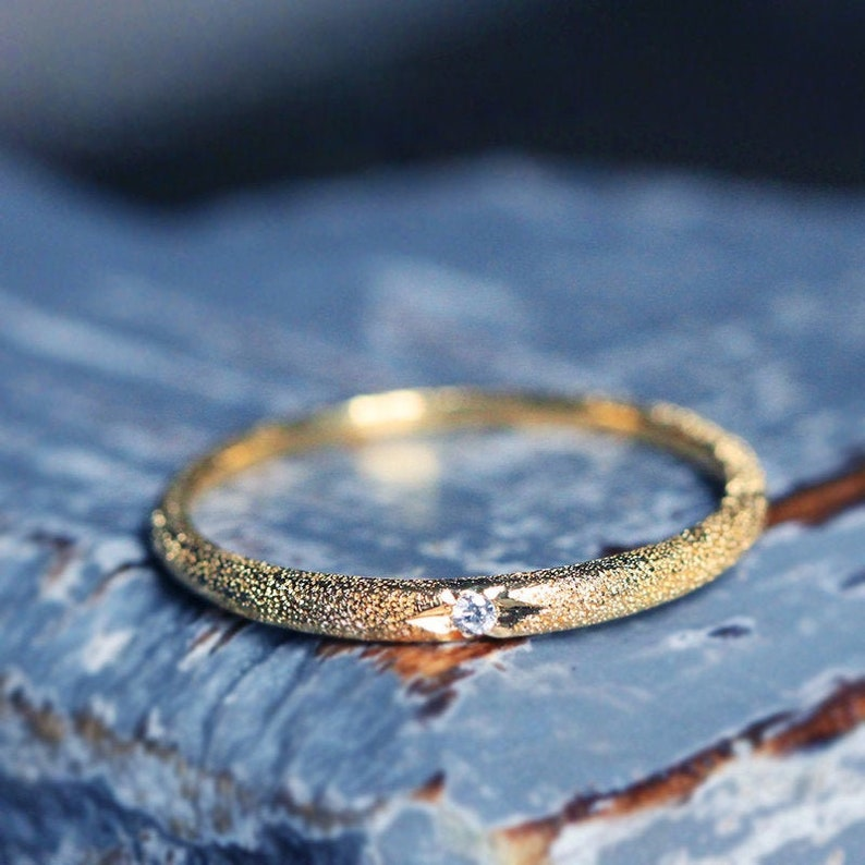 Gold Diamond Wedding Band Delicate Stacking Ring 18K Real Gold Genuine Diamond Dainty Ring 18ct Solid gold Natural Diamond Stackable Ring