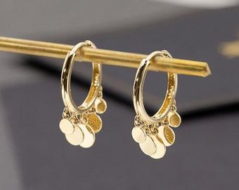 14K Solid Gold Hoop Earrings, Real Solid Gold Hinged Huggie Hoop Earrings, 1 Pair of Delicate Huggie Hoops in 14K Yellow Gold, Gift for her