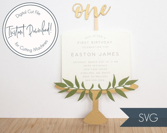 Cake Invitation Svg Cut File Template For Cricut And Etsy