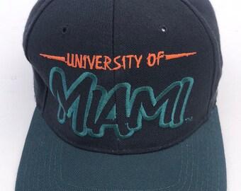 6c803e26a16e3 Vintage 1990s University of Miami Hurricanes Starter Snapback 90s NCAA snap  adjustable cap hat wool
