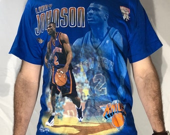48527191ea5 Vintage 1990s Larry Johnson Pro Player New York Knicks Player Graphic shirt  90s NBA oversized Medium