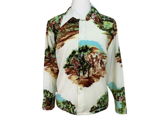 Vintage 1970's Novelty Print Shirt - image 1