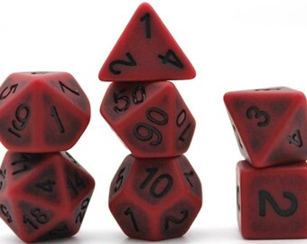 Antique red DnD Dice Set, custom dice 7 piece translucent set RPG D&D Dungeons and Dragons Canada pathfinder polyhedral d20 critical roll