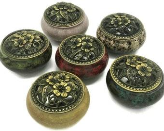 "Ceramic Incense Burner (4"" Diameter, 2.9"" High) with Copper Lid & Coil Accessory"
