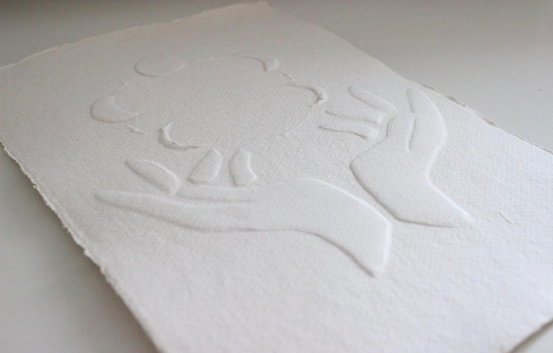 Hand Made Paper Art The universe is in your hands Abstract Cotton Rag Embossed Series Embossing Original Art Imprint