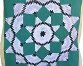 Vintage Broken Star Quilt Black, Green Quilt, Colorful, Cutter Quilt, Project Quilt, Vintage Quilt, Antique, Pink, Yellow, Quilt Coat