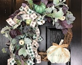 Floral Grapevine Wreath for Fall or Thanksgiving with Purple and Green Tones