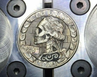 Hobo Nickel Skull hand engraved Silver Coin OHNS Love Token gold inlay