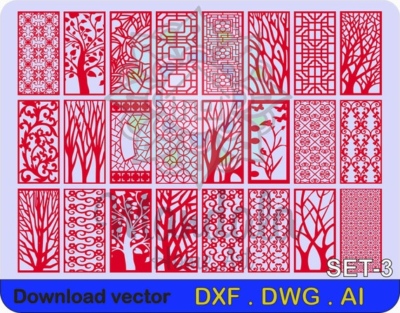 24 WALL PANELS, CNC, Room Decor, Patterns, Laser, dxf, dwg,ai, Cdr