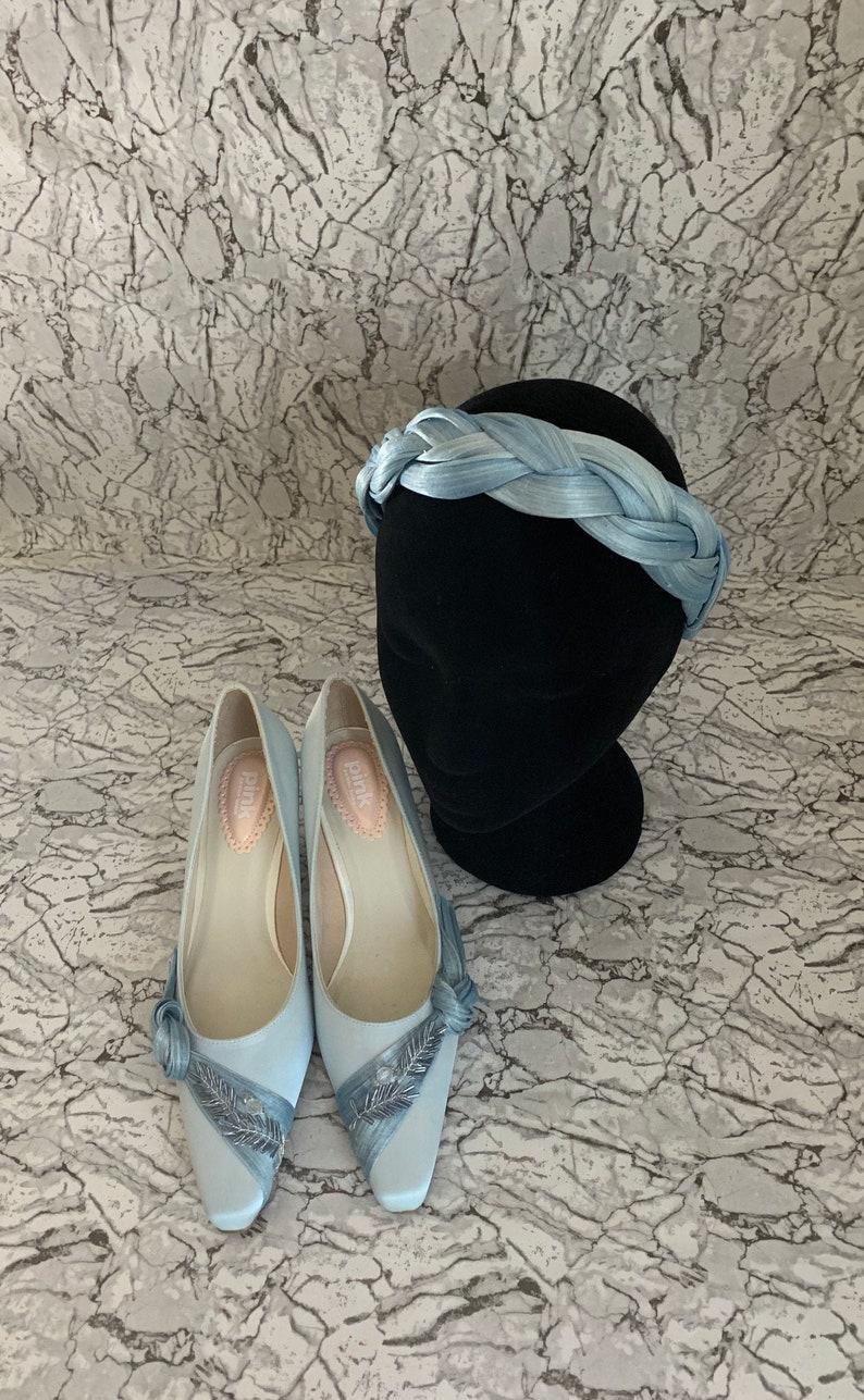 Pale blue silk abaca head band