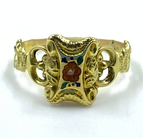 Antique Georgian 18k Gold Enamel Compartment Ring