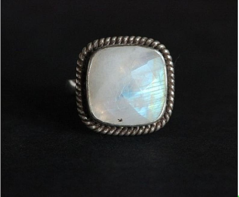 Rainbow Moonstone in 925 Sterling Silver Sterling Ring Gift For Mother,Boho Ring Silver Ring,Rainbow Moonstone Ring