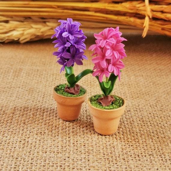 Handmade Purple Hyacinth Flower Clay Plant Miniature Dollhouse Garden Ornament
