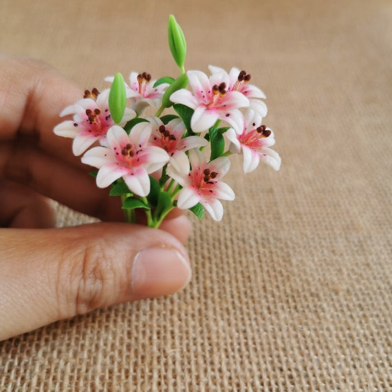 Pink Color Lily Clay Flower Bouquet 3 Bunches Flower Miniature Dollhouse Decor