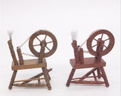 Vintage Dollhouse Miniature Sewing Room Box Furniture Tool Spinning Wheel in 1 12th Doll House Accessories,18th Century Spinning Wheels
