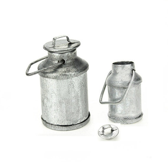 1//12 Dollhouse Miniature Tin Metal Milk Can Carrier Container w// Lid Handle