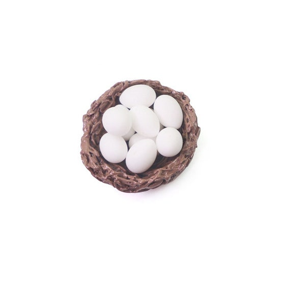 Dollhouse Bird/'s Nest with Blue Robin Eggs 1:12 Artisan Dollhouse Miniatures
