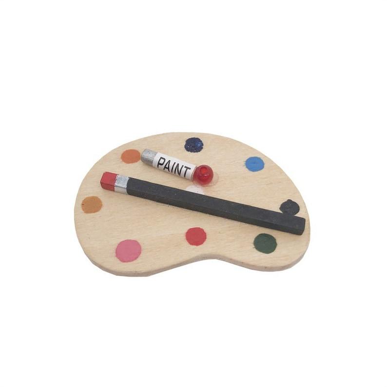 Miniature Dollhouse FAIRY GARDEN Accessories ~ Artist Paint Palette /& Brush Set