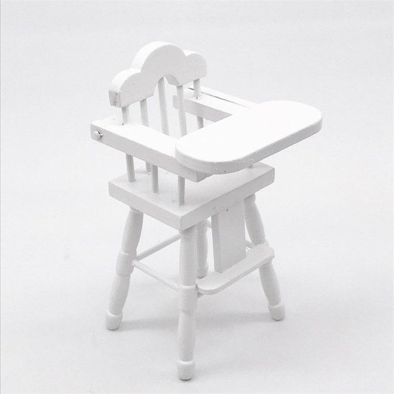 4pcs 1//12 White Wooden Stool Chair Furniture Model Dollhouse Miniature Decor