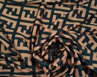 4b5145edb Inspired Fendi fabric fendi fabric brown and black Designer fabric by the  yard Inspired Fendi dress Designer print fabric FF fabric