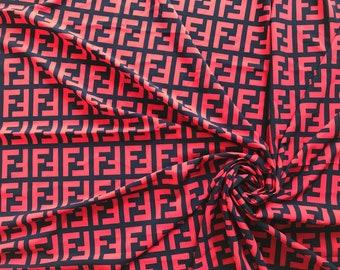 121273c05 Inspired Fendi fabric fendi fabric Red and black Designer fabric by the  yard Inspired Fendi dress Designer print fabric FF fabric