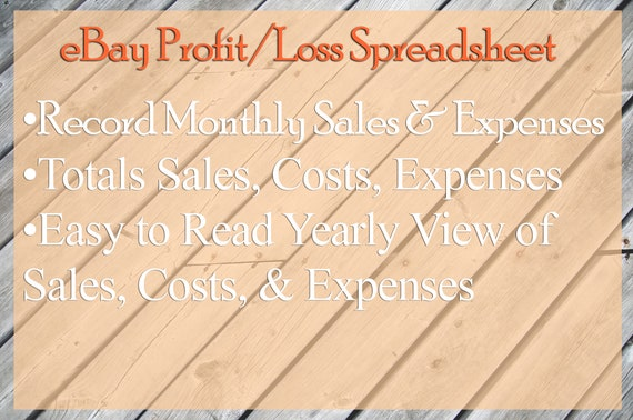 Ebay Simple Profit Loss Income Yearly Spreadsheet Report Template Step By Step Instructions Microsoft Excel Or Google Sheets