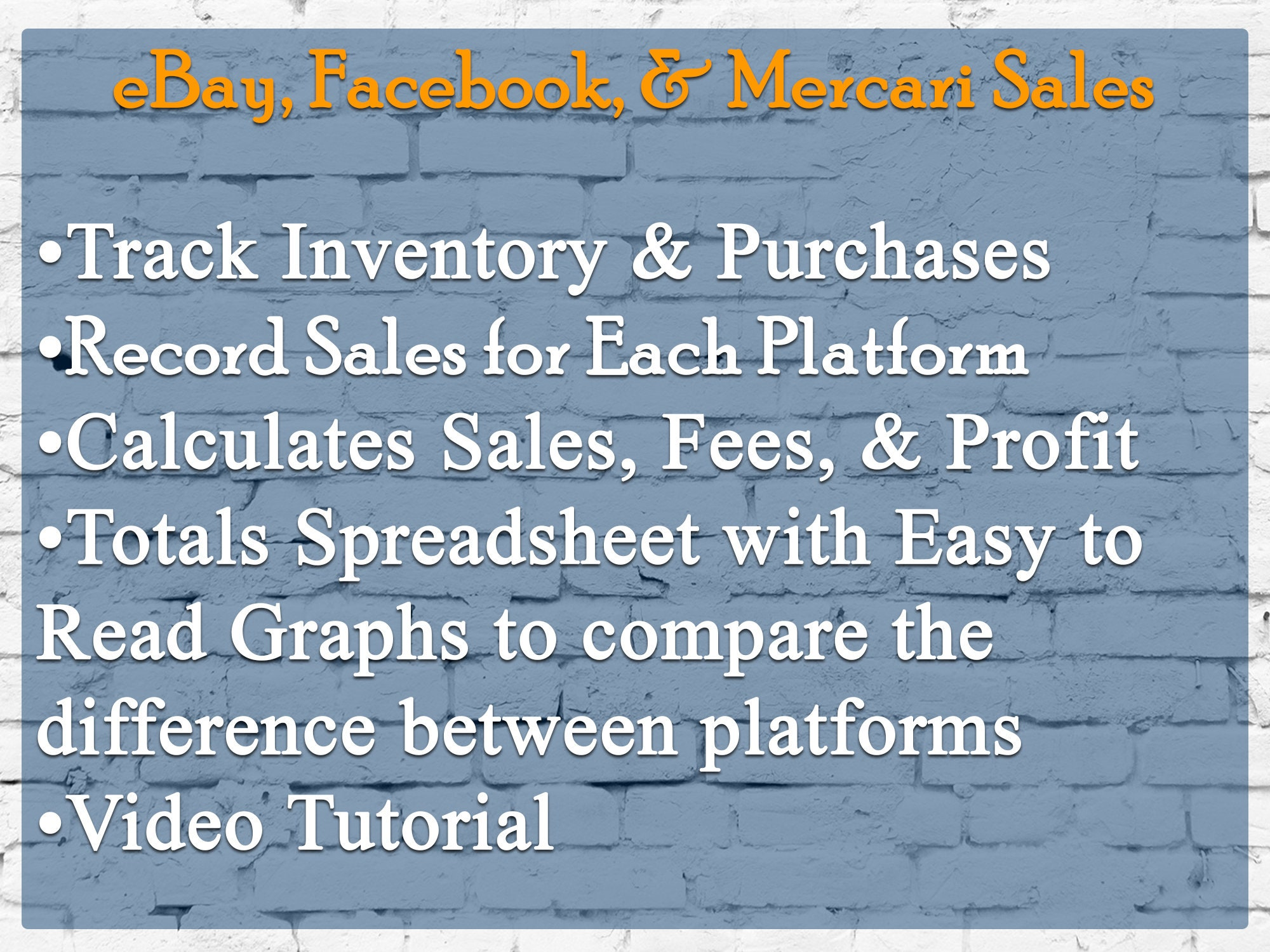 Ebay Mercari And Facebook Spreadsheet Template Sales Report Etsy