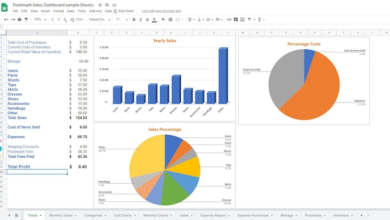 Poshmark Sales Monthly and Expenses Categories Google Sheets  Excel Spreadsheet Report Template 73