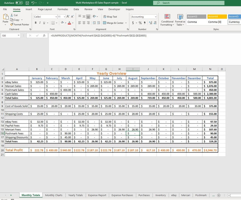 Poshmark eBay Mercari Facebook Google Sheets Credit Card Expenses Purchases Monthly Sales Spreadsheet  Excel 65-B
