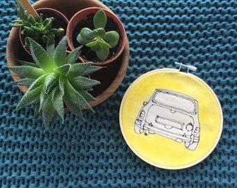 Retro Mini Cooper classic car, yellow, thread drawing, handmade, embroidery hoop art, wall hanging