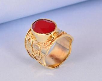 Engagement Ring Gift for Her-0403 Gemstone Ring Light Green Jade Stone Ring-Adjustable Brass Ring  Handmade Brass Ring