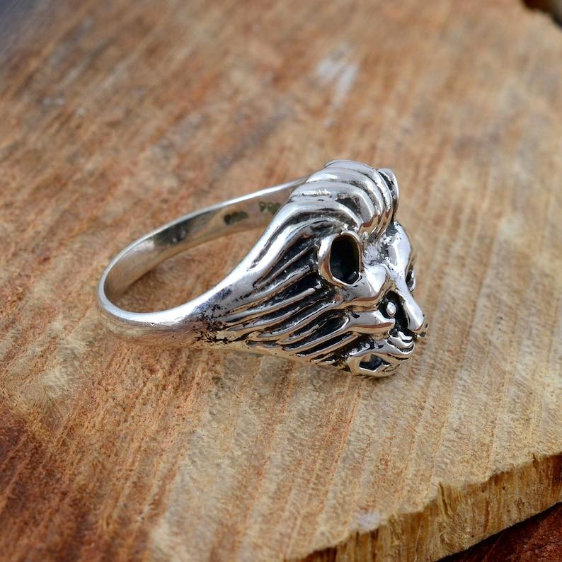 handmade ring husband gift ring 925 Sterling Silver lion ring best gift ring signet ring valentine ring unisex ring lion face ring