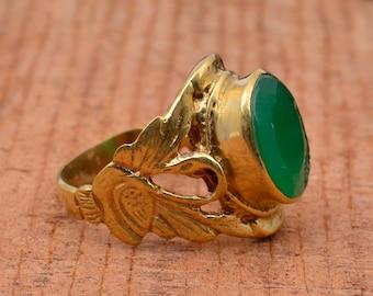 Green Jade Ring, handmade  Green Jade Ring, Natural Green Jade Ring, Brass Ring, Statement Ring, Boho Rings, Rings For Women, Gift For Her.