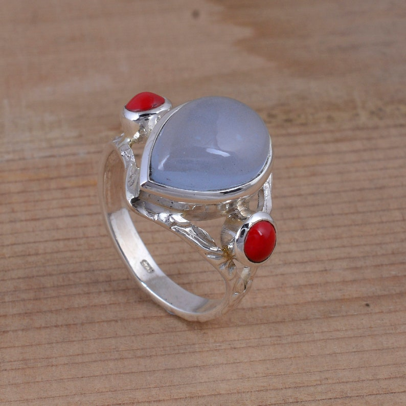 Indian 925 Sterling Silver Classy Natural Blue Ring Chalcedony Blue Gemstone Silver Ring