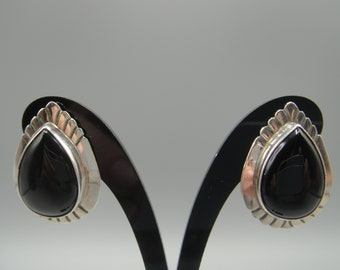 afdb222a6 Sterling Silver and Onyx Earrings by Nakai/George and Grace Nakai Sterling  Silver Earrings/Native American made Earrings